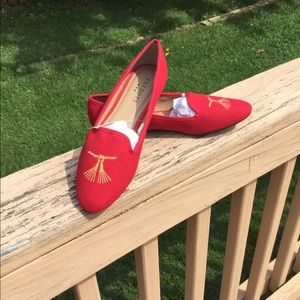 NWT Talbots Red Fabric Loafer Embroidered Tassels